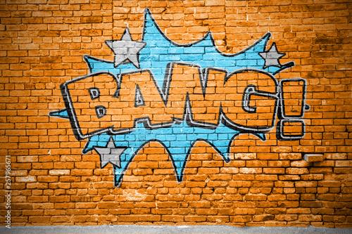 Wallpaper Mural Bang! Comic Ziegelsteinmauer Graffiti
