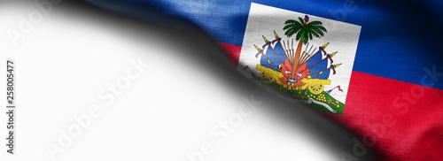Fotografie, Obraz Haiti waving flag on white background - right top corner flag