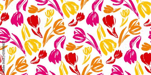 Wallpaper Mural Colorful tulip flower sketch seamless pattern.