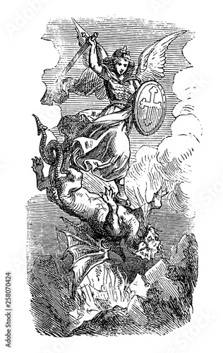 Vászonkép Vintage antique illustration and line drawing or engraving of biblical Archangel Michael fighting and defeating Satan as dragon