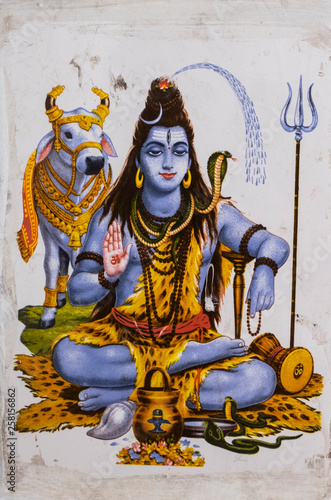 Wallpaper Mural shiva, drowing, cow, sacred