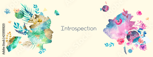 Foto Introspection concept in trendy collage style with watercolor elements