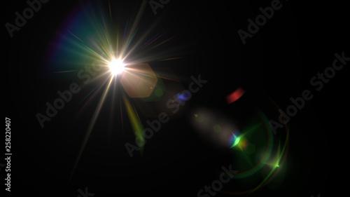 Fotografie, Tablou Lens flare glow light effect on black background