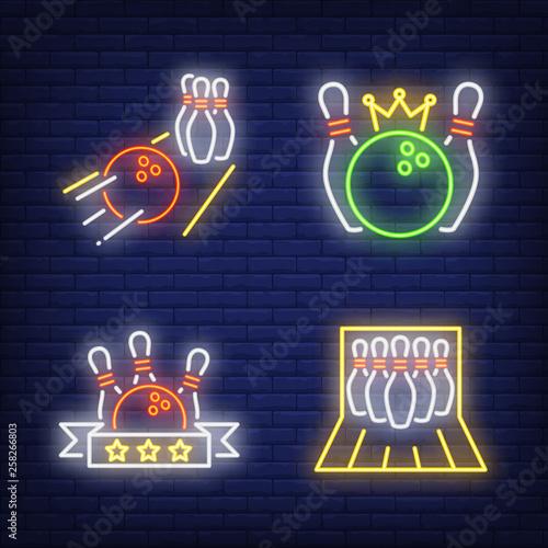 Bowling balls and skittles neon signs set Fototapeta