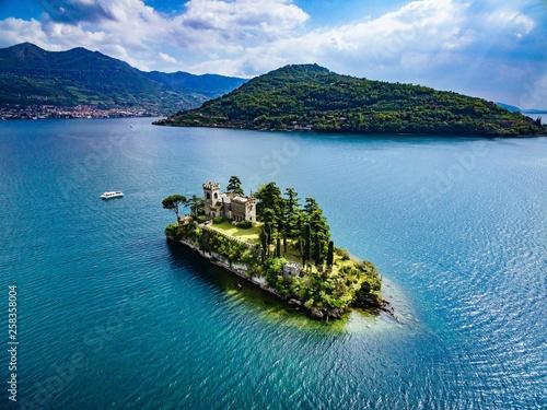 Fotografie, Obraz Aerial view of Loreto island, lake of Iseo in Italy.