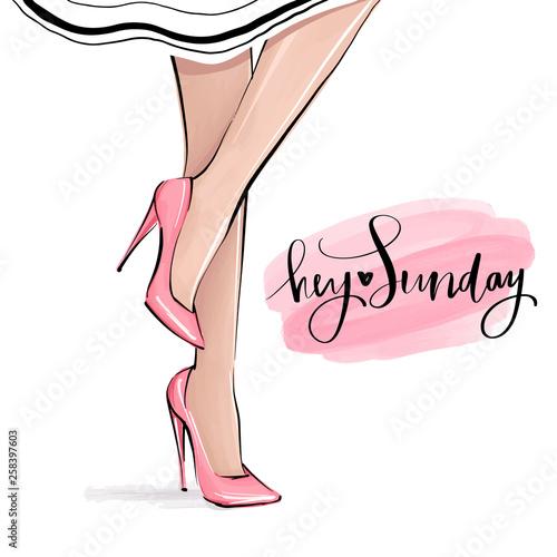 Vector girl in high heels Fototapet