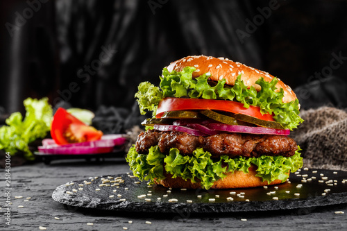 Beef burger with tomatoes, red onions, cucumber and lettuce on black slate over dark background Fototapeta