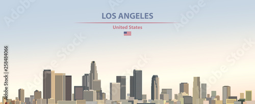 Photo Vector illustration of  Los Angeles city skyline on colorful gradient beautiful