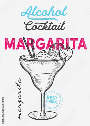 Cuadros en Lienzo Margarita cocktail illustration, vector hand drawn alcohol drink
