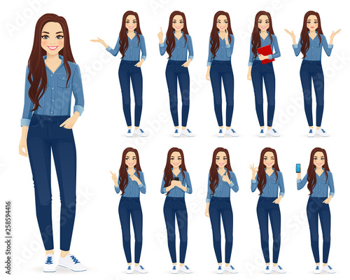 Fotografia Young woman with long hair in casual denim shirt and jeans set different gesture