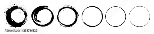 Fotografija Abstract black paint brushstroke circles pack
