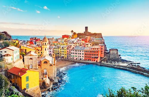 Canvas Print Panorama of Vernazza, national park Cinque Terre, Liguria, Italy, Europe