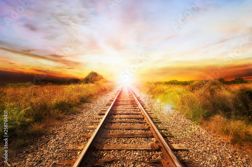 Canvas Print Landscape of an old abandoned railway at the sunrise