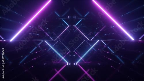 Obraz na płótnie Abstract flying in futuristic corridor background, fluorescent ultraviolet light