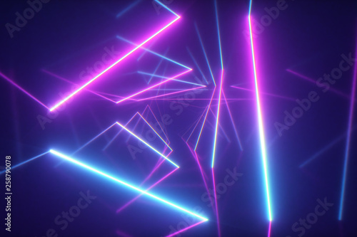 Abstract flying in futuristic corridor with triangles background, fluorescent ul Fototapeta