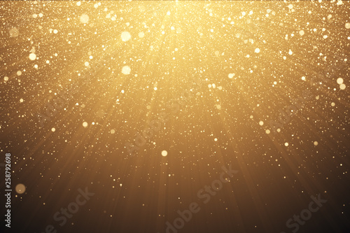 Leinwand Poster Gold glitter background with sparkle shine light confetti effect 3d illustration