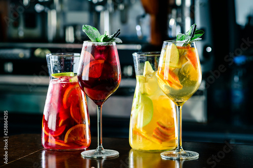 Fototapeta sangria with red and white wine Summer alcohol drink and ingredients