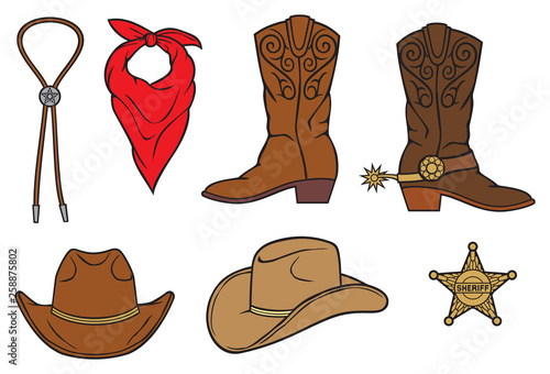 cowboy vector icons: sheriff badge (star), bolo tie, red bandana, boots Fototapet