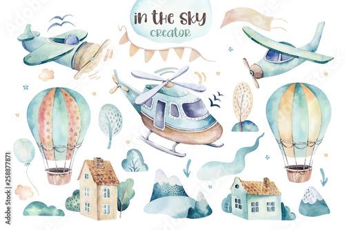 Akwarela zestaw ilustracji tła uroczej kreskówki i fantazyjnej sceny nieba wraz z samolotami, helikopterami, samolotem i balonami, chmury. Chłopiec wzór