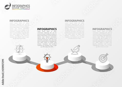 Obraz na plátně Infographic design template. Creative concept with 4 steps