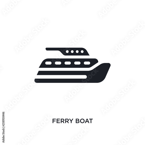 Canvastavla black ferry boat isolated vector icon