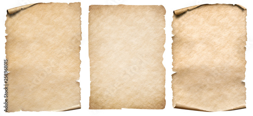 Vintage paper or parchment set isolated on white