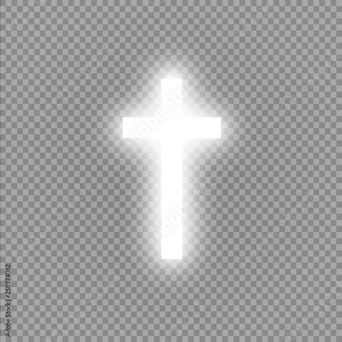Billede på lærred Shining white cross on transparent background