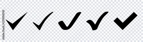 Fotografia Vector check mark icons set in flat design on transparent background