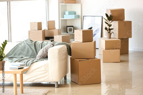 Fotografie, Obraz Furniture, belongings and moving boxes in room
