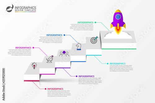 Fotografija Infographic design template. Creative concept with 6 steps