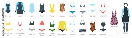 Canvas Print Vector set of female swimsuit