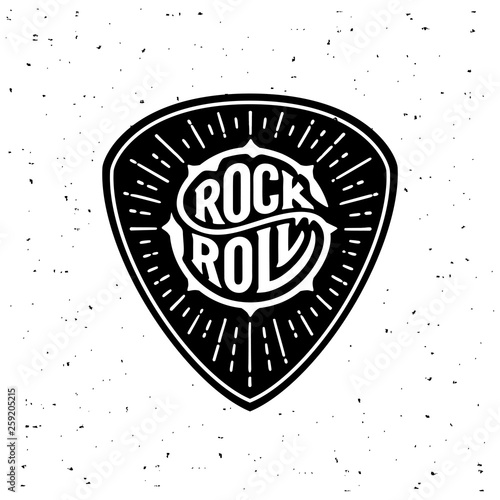 Rock and Roll circle lettering on the plectrum Fototapeta