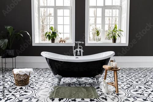 Canvas Print Interior of modern luxury minimalistic bathroom with window