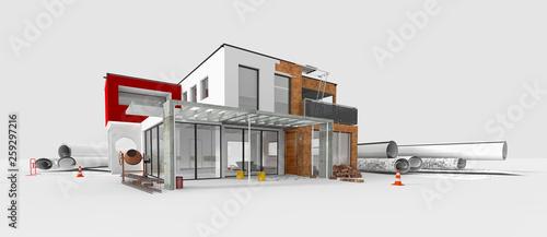 Fényképezés Projet de construction d'une maison d'architecte