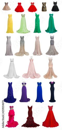 Billede på lærred Set of luxury evening dresses with crystals and sequins isolated on white backgr
