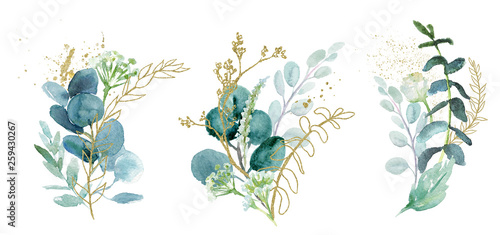 Obraz na plátne Watercolor floral illustration set - green & gold leaf branches collection, for wedding stationary, greetings, wallpapers, fashion, background