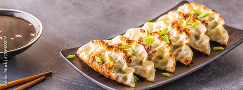 Photo gyoza or dumplings snack with soy sauce