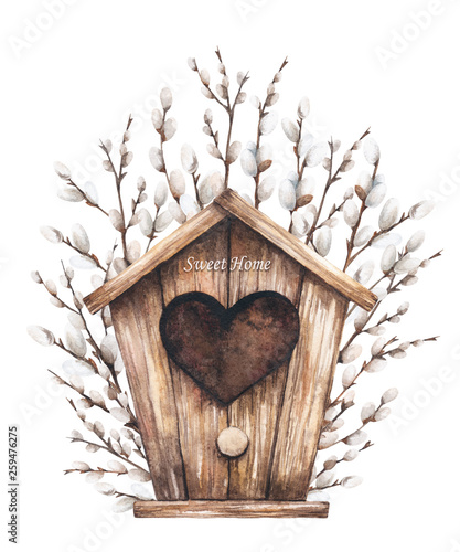 Photo Watercolor illustration of birdhouse and willow