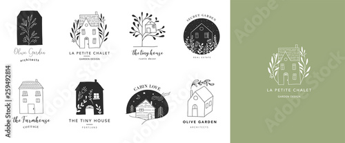 Stampa su Tela Collection of the hand drawn home, house logos, icons, gardens and cabins