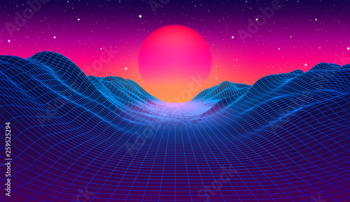 Leinwand Poster 80s synthwave styled landscape with blue grid mountains and sun over canyon