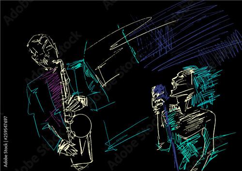 Obraz na płótnie Saxophonist and singer