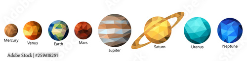 Wallpaper Mural Set of triangle polygonal silhouette of solar system planets