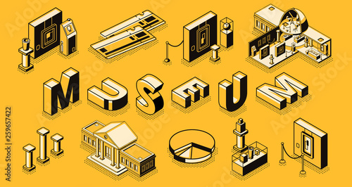 Fotografie, Obraz Museum or art gallery isometric vector concept with museum cross section building, paintings and sculpture exposition elements, paper tickets, line art illustration