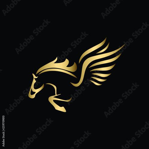 Carta da parati Vector image of a silhouette of a mythical creature of Pegasus