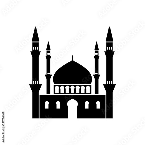 Canvas Print Mosque vector icon on white background