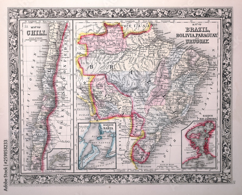 Wallpaper Mural Old map. Engraving image