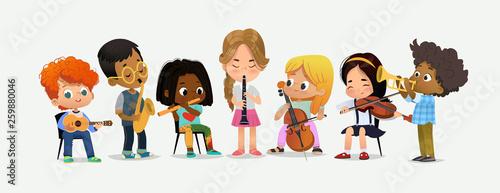 Fotografia School Orchestra Kids Play Various Music Instrument