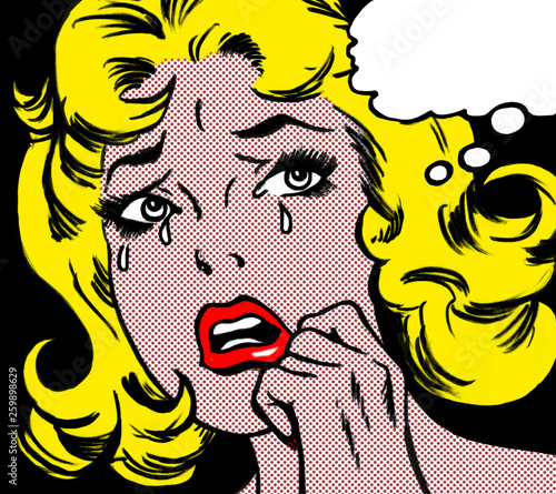 Photo illustration of a crying woman in the style of 60s comic books, pop art