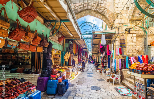 Tablou Canvas View of souvenir market in old city Jerusalem, Israel