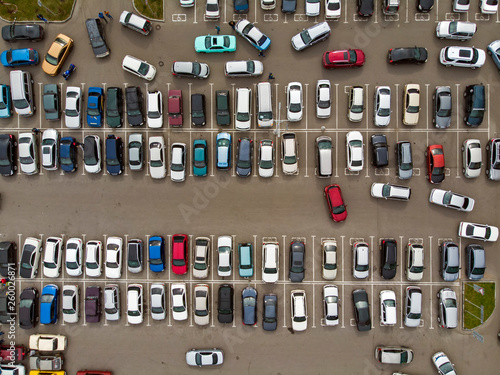 Fotografie, Obraz A view from above to the lines of parked cars